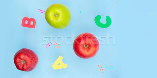 Zurück in die Schule Szene Äpfel blau Banner Büro Stock foto © neirfy