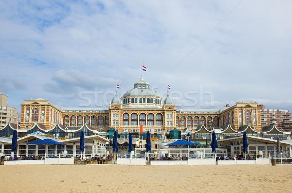 Holland spiaggia estate bandiera sabbia architettura Foto d'archivio © neirfy