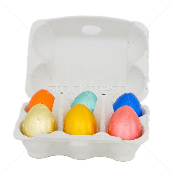 Húsvéti tojások tojás doboz izolált fehér húsvét Stock fotó © neirfy