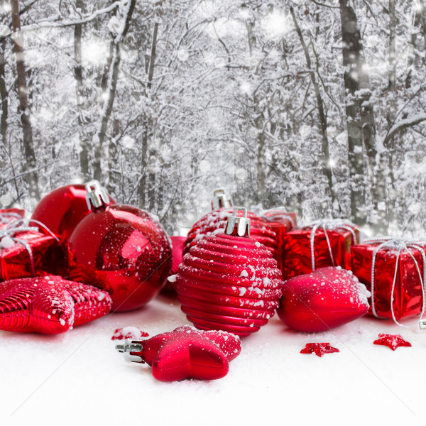 red christmas balls in snowed forest Stock photo © neirfy