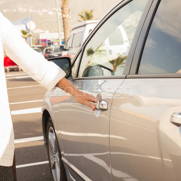 Vrouw auto deur grijs abstract metaal Stockfoto © neirfy