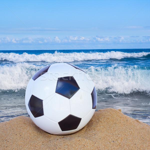 Fútbol pelota arena mar lado primavera Foto stock © neirfy