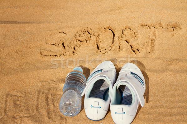 Imzalamak sevmek spor kum beyaz Stok fotoğraf © neirfy
