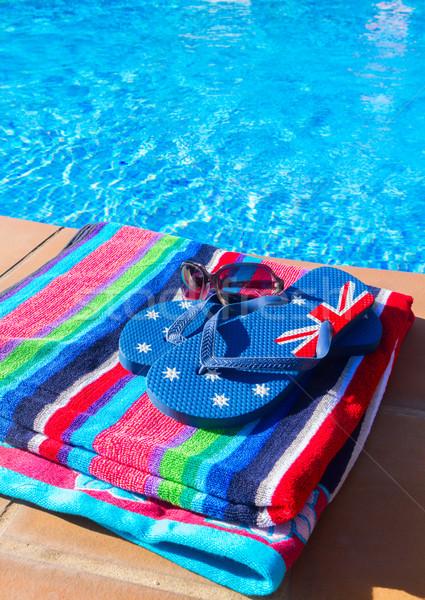 Ręcznik sandały basen pasiasty cool niebieski Zdjęcia stock © neirfy