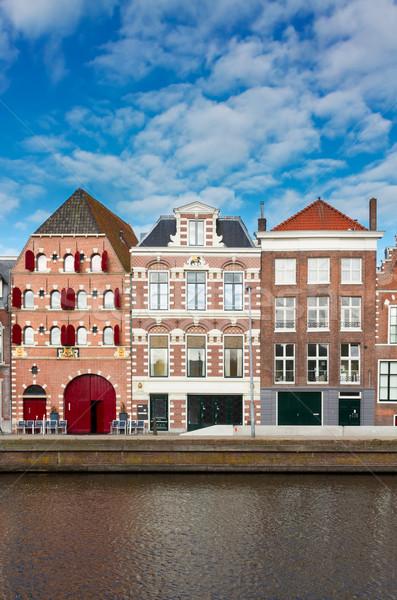 старый город Нидерланды воды реке небе здании Сток-фото © neirfy