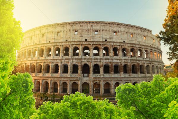 Colosseum gün batımı Roma İtalya görmek Bina Stok fotoğraf © neirfy