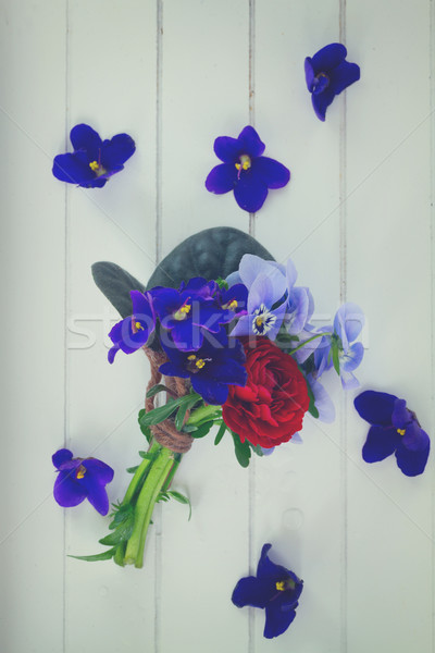 Posy of violets, pansies and ranunculus Stock photo © neirfy