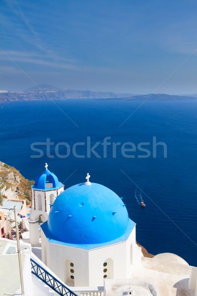 традиционный синий купол морем Санторини Церкви Сток-фото © neirfy