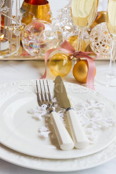 Foto stock: Vajilla · establecer · Navidad · placas