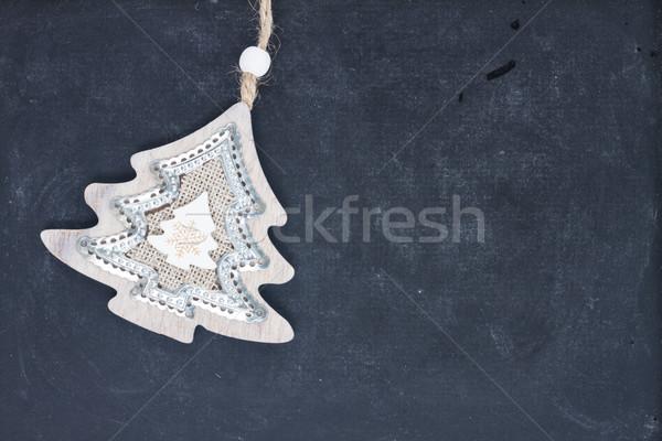 ストックフォト: 青 · 白 · クリスマス · 装飾的な · クリスマスツリー · 黒