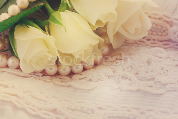 Rose orange roses dentelle blanche fraîches Photo stock © neirfy