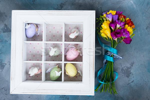 Húsvéti tojások doboz húsvét lábujj játék tojások Stock fotó © neirfy
