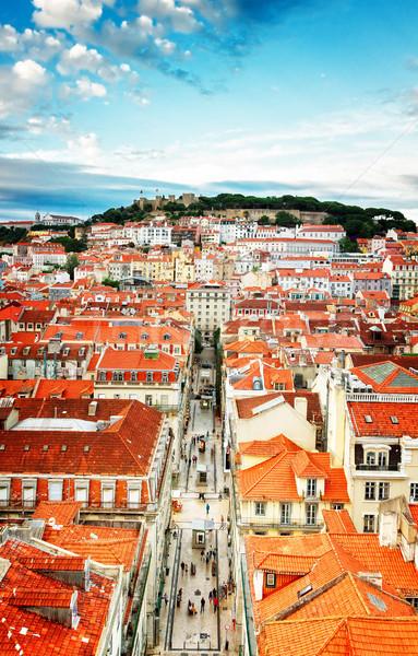 Castillo Lisboa Portugal barrio antiguo Foto stock © neirfy