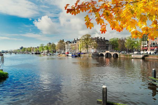 Stok fotoğraf: Kanal · Amsterdam · su · Hollanda · sonbahar · gün