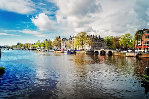 Stok fotoğraf: Kanal · Amsterdam · su · Hollanda · Retro · gökyüzü