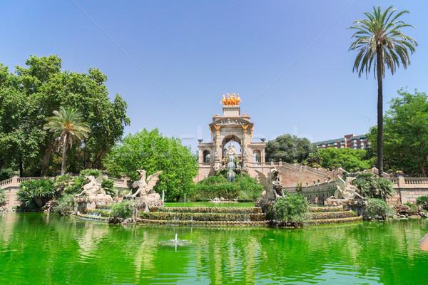 Park LA szökőkút híres helyszín Barcelona Stock fotó © neirfy