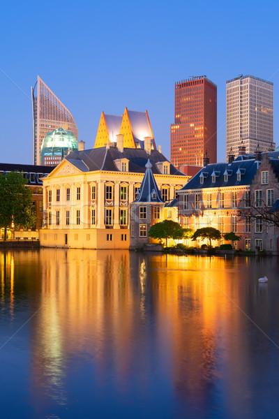 Ciudad centro Países Bajos estanque noche cielo Foto stock © neirfy