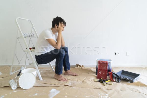Do it yourself maison peinture équipement chambre jeune homme Photo stock © neirfy