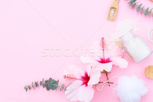 Szépség természetes szappan krém törölközők hibiszkusz Stock fotó © neirfy