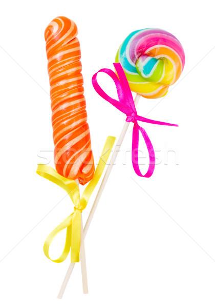 キャンディー 開く キャンディ スティック スパイラル 孤立した ストックフォト © neirfy