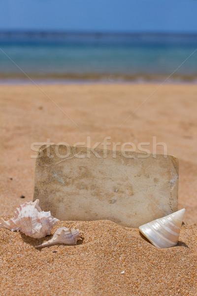 old photo on seashore Stock photo © neirfy