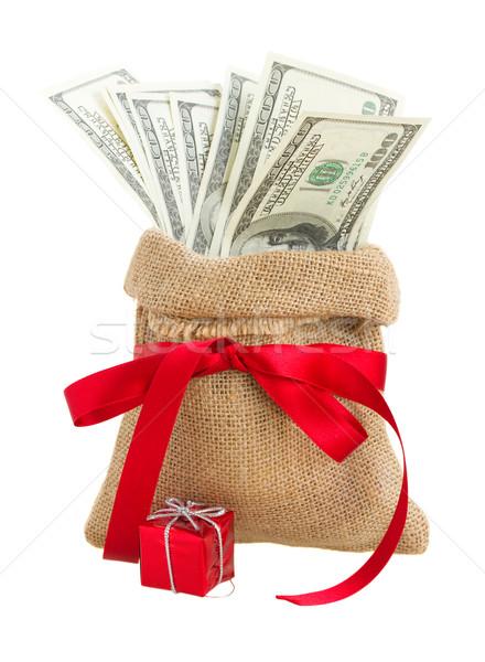 Geld geschenk zak Rood boeg geïsoleerd Stockfoto © neirfy