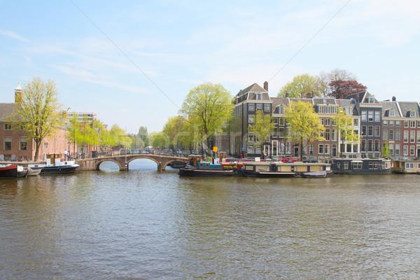 Rivier Amsterdam holland oude huizen stad Stockfoto © neirfy