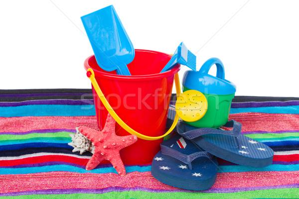 Stockfoto: Strand · speelgoed · zeester · handdoek · geïsoleerd