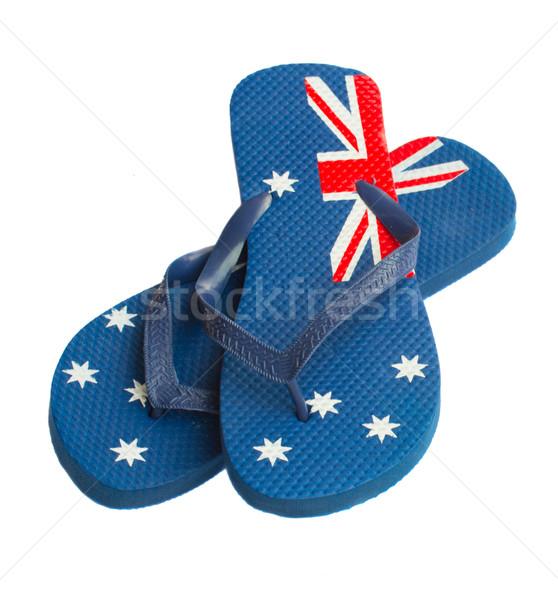 Blauw sandalen paar geïsoleerd witte mode Stockfoto © neirfy