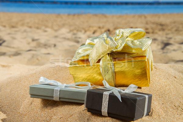 Foto stock: Natal · presentes · praia · dourado · areia