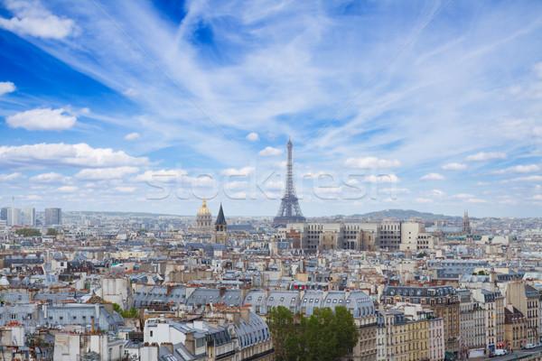 Foto stock: Linha · do · horizonte · Paris · Torre · Eiffel · cidade · acima · dia