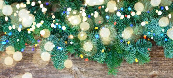 Karácsony friss örökzöld fa ágak copy space Stock fotó © neirfy