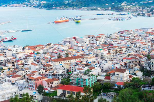 Város Görögország tenger tengeri égbolt tájkép Stock fotó © neirfy