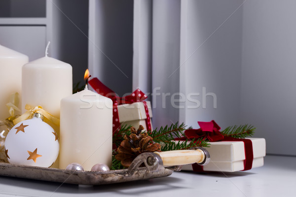 Yanan advent mumlar ilk mum beyaz Stok fotoğraf © neirfy