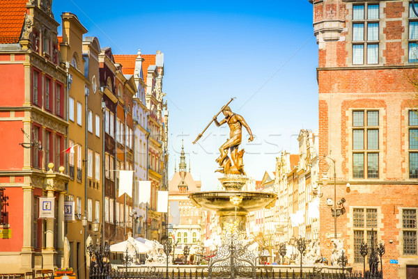 The Neptune fountain and old town of Gdansk Stock photo © neirfy