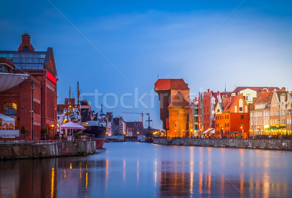 Motlawa quay and old  town of  Gdansk Stock photo © neirfy