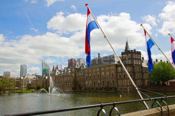 Nederlands parlement Nederland vlaggen kantoor Stockfoto © neirfy