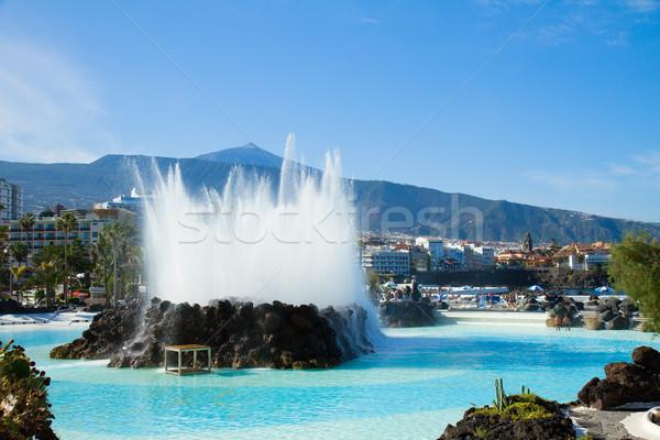 Skyline tenerife Spanje la vulkaan zwembad Stockfoto © neirfy