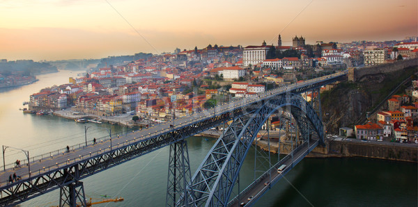 panorama of old Porto at sunset, Portugal Stock photo © neirfy