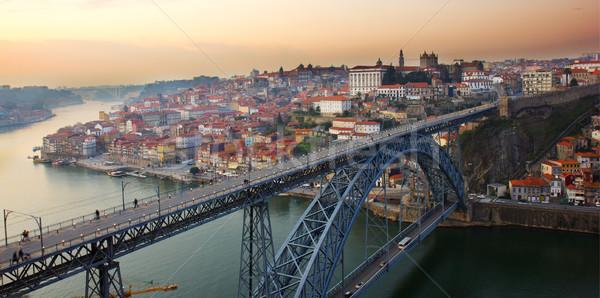 パノラマ 古い 日没 ポルトガル 橋 空 ストックフォト © neirfy