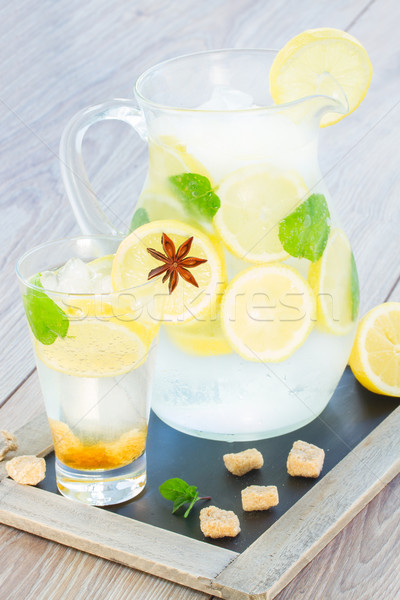 jar of lemonad with tall glass Stock photo © neirfy