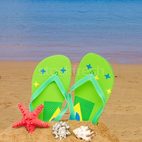 Zöld szandál tengeri csillag homok pár izolált Stock fotó © neirfy