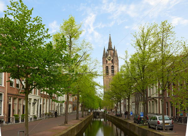 old town of Delft in spring, Holland Stock photo © neirfy