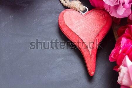 Immediato nero tavola cuore fiori fiore Foto d'archivio © neirfy