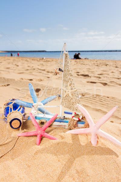 Boot oceaan kust houten model schelpen Stockfoto © neirfy