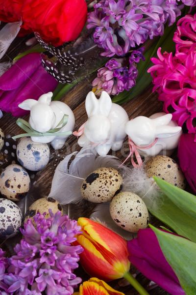 Wiosennych kwiatów Easter Eggs wiosną świeże kwiaty trzy Zdjęcia stock © neirfy