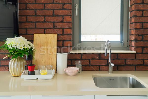 Mutfak masası üst batmak gıda ahşap soyut Stok fotoğraf © neirfy