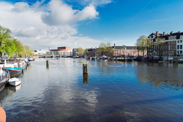 Canal Amsterdam tradicional casas cielo agua Foto stock © neirfy