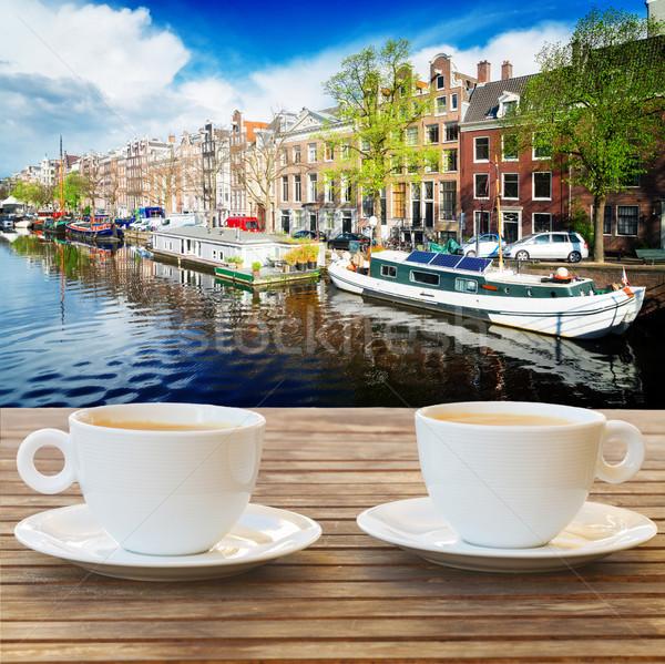Beker koffie Amsterdam twee Stockfoto © neirfy