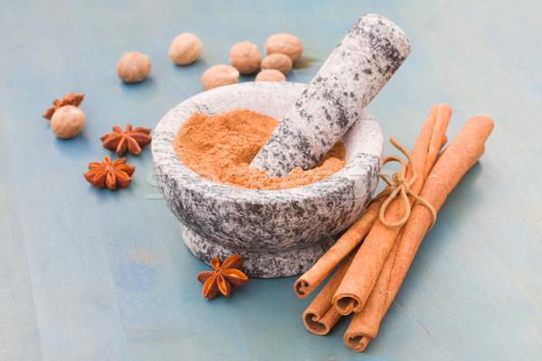 cinnamon powdered in mortar Stock photo © neirfy